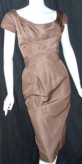 vintage 50's dress CEIL CHAPMAN wiggle BRONZE silk