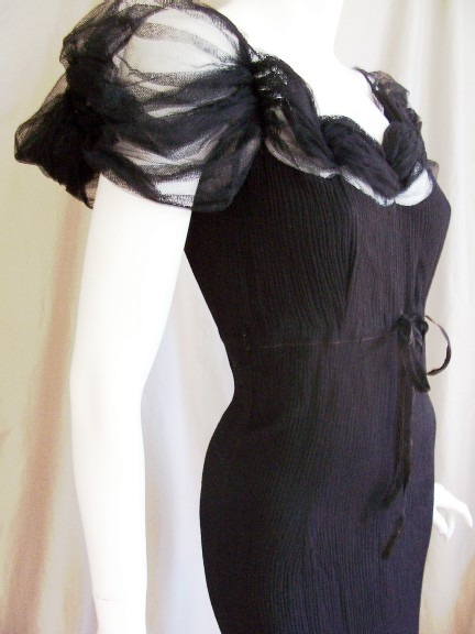 30's Black Silk Column Dress by GERMAINE
