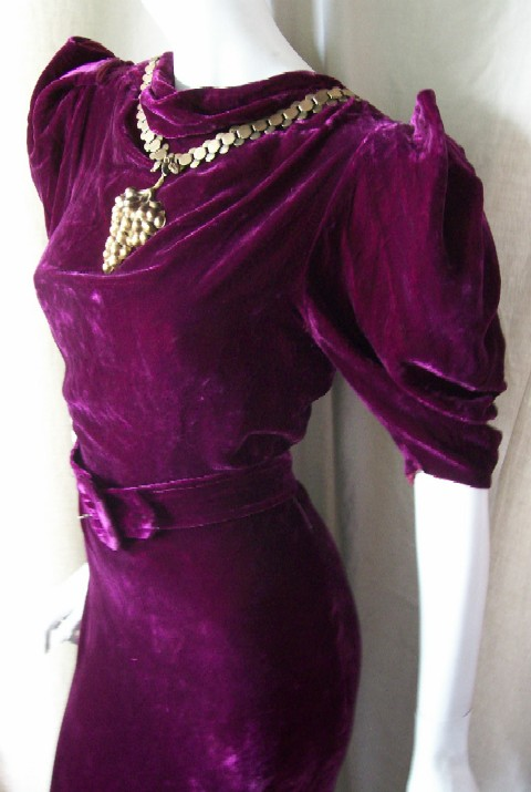 Vintage DRESS 30's GOWN PURPLE VELVET w/ GRAPE Pendant