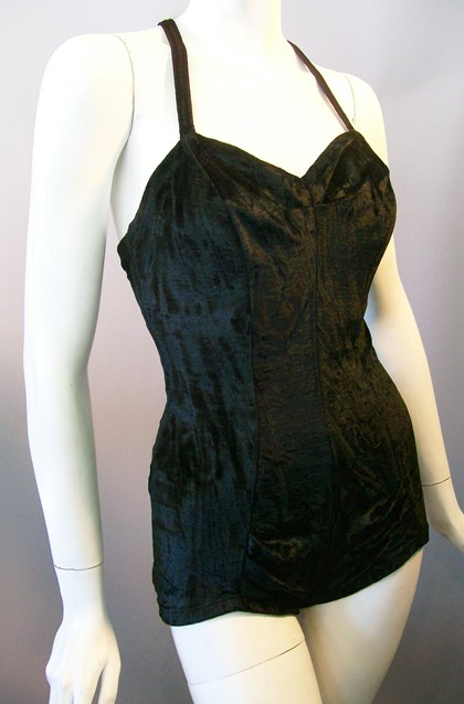 Sophisticated, glamorous black velvet Jantzen 50s swimsuit.