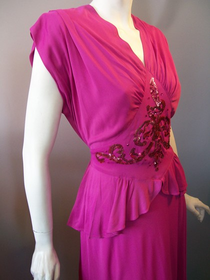 Fuschia jersey knit rayon 40s cocktail dress