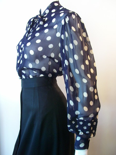 30s blouse polka dot blouse vintage clothing