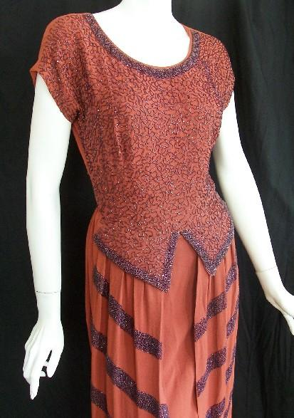 Dramatic persimmon crepe 40s dress :  beaded bombshell dresses bettie page vintage