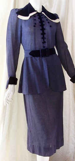 Vintage Dress 30's BLUE Velvet Suit Deco Dtls