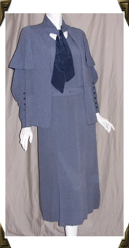 Vintage 30's dress traveling suit blue cape sleeve jacket
