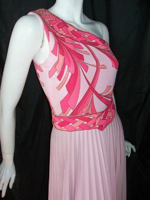 Vintage 70's Dress maxi pink ALFRED SHAHEEN Pucci Style one Shoulder