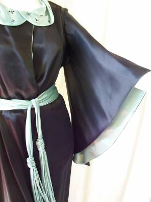 Vintage Dressing Gown 30's Silk Beaded Black & Aqua
