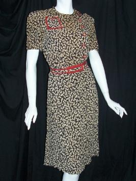 Vintage 30's Dress CHERRY Print Rayon Jean Huie Estate