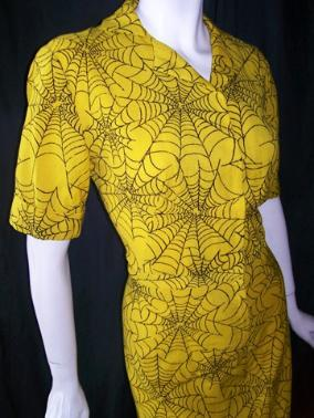 Vintage novelty print spider web 40's dress wool