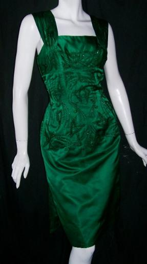 Vintage cocktail dress 50's DON MIGUEL emerald beaded wiggle dress