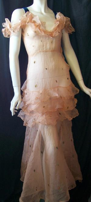 30's gown sheer apricot gelatin sequins blue velvet