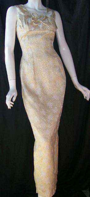 Vintage 50's EVENING GOWN Bombshell GOLD Metallic WIGGLE Dress