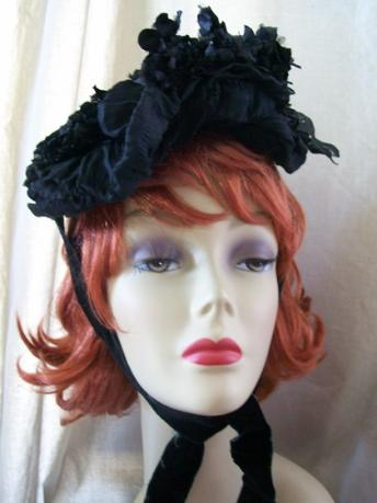 Vintage Antique Victorian Silk Hat Bonnet