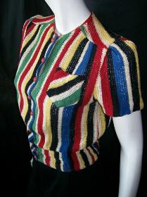 Vintage 30's Sweater STRIPED Button up