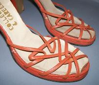 40s shoes platforms orange ankle straps