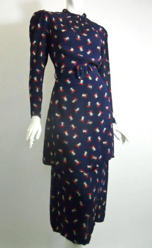 30s dress vintage dress novelty print