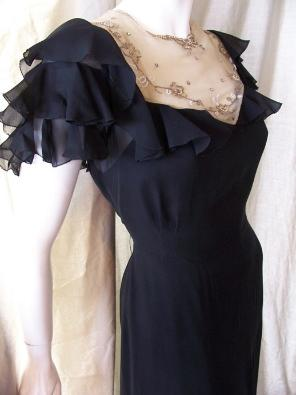 Vintage 30's gown sheer neckline beaded rhinestone bows ruffled sleeves