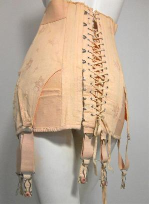 1d83dcfae Apricot WWII era 1940s cotton and silk jaquard corset with back lacing