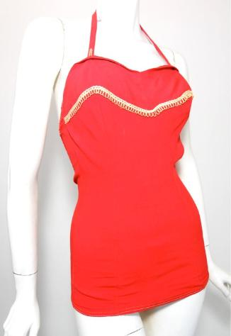 vintage swimsuit red swimsuit