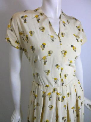 40s dress vintage dress vintage clothing novelty print