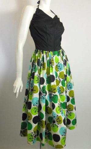 50s dress atomic print dress halter dress vintage dress