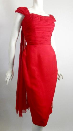 60s dress vintage dress red silk chiffon dress