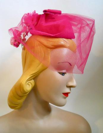 miss sally victor hat 60s hat pink hat