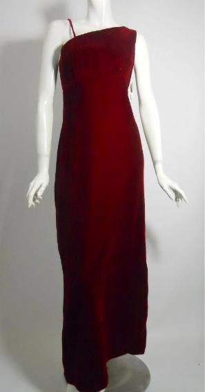 Dorothea's Closet Vintage gown, 60s gown, one shoulder gown, velvet gown