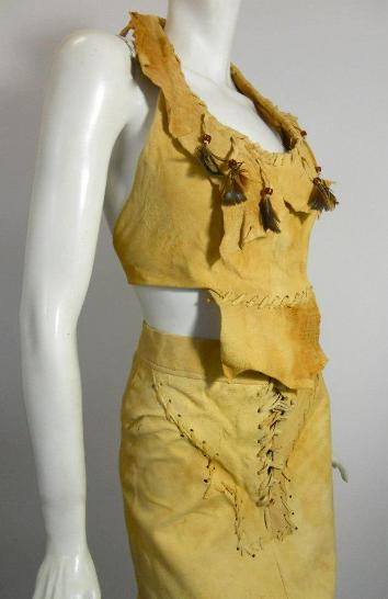 70s dress vintage dress leather dress buckskin