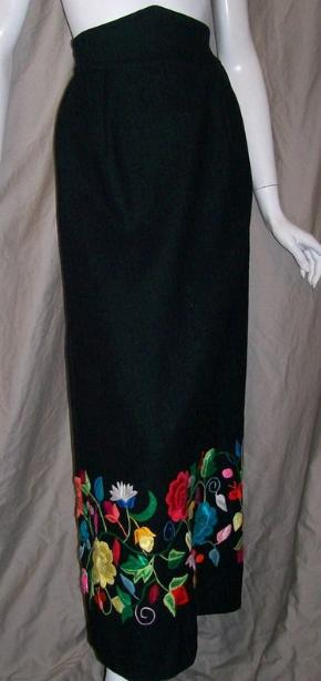 70s skirt maxi skirt wool embroidered