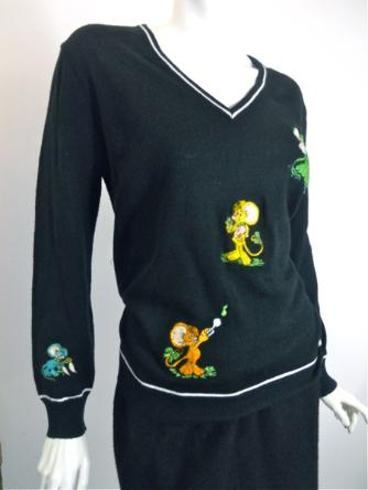 70s sweater embroidered sweater vintage clothing