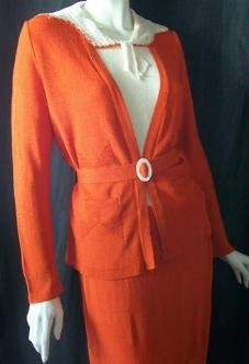 Vintage 30's dress set orange knit 3 pc.