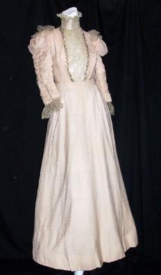 Vintage Antique Victorian Gown Pink Beaded Silk