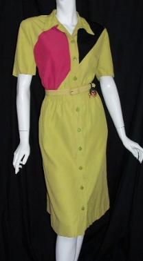 Vintage 40's Dress colorblock Rayon WINFIELD Gypsy Fob
