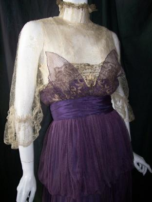 Antique EDWARDIAN Dress PURPLE Silk w/ GOLD