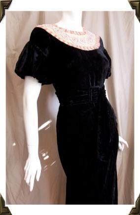 Vintage gown 30s VELVET with BEADED Neckline
