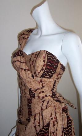 Vintage 50's dress ALFRED SHAHEEN Sarong Wiggle Dress TIKI