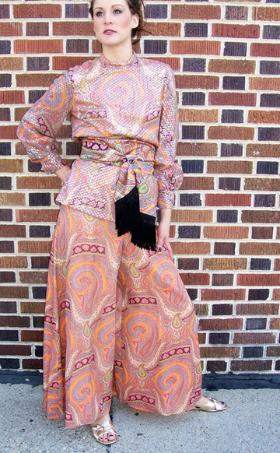 Guy Laroche style 70's palazzo pants with tunic and vest from Sarah Fredericks